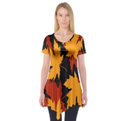 Dried Leaves Yellow Orange Piss Short Sleeve Tunic  by Alisyart