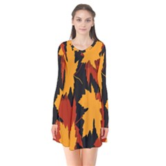 Dried Leaves Yellow Orange Piss Flare Dress