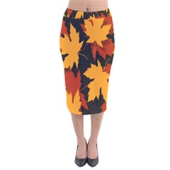 Dried Leaves Yellow Orange Piss Velvet Midi Pencil Skirt by Alisyart