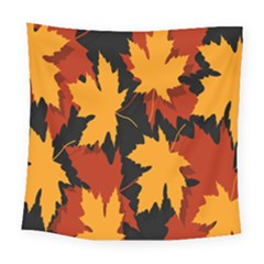 Dried Leaves Yellow Orange Piss Square Tapestry (large)