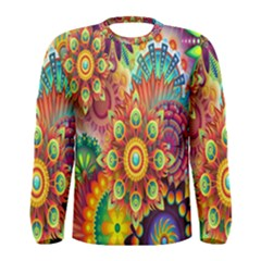Colorful Abstract Flower Floral Sunflower Rose Star Rainbow Men s Long Sleeve Tee