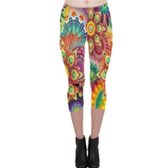 Colorful Abstract Flower Floral Sunflower Rose Star Rainbow Capri Leggings  by Alisyart
