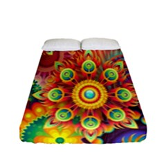 Colorful Abstract Flower Floral Sunflower Rose Star Rainbow Fitted Sheet (full/ Double Size)