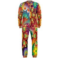 Colorful Abstract Flower Floral Sunflower Rose Star Rainbow Onepiece Jumpsuit (men)  by Alisyart