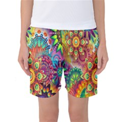Colorful Abstract Flower Floral Sunflower Rose Star Rainbow Women s Basketball Shorts by Alisyart