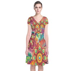 Colorful Abstract Flower Floral Sunflower Rose Star Rainbow Short Sleeve Front Wrap Dress