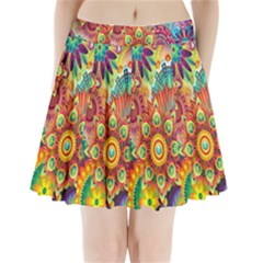 Colorful Abstract Flower Floral Sunflower Rose Star Rainbow Pleated Mini Skirt