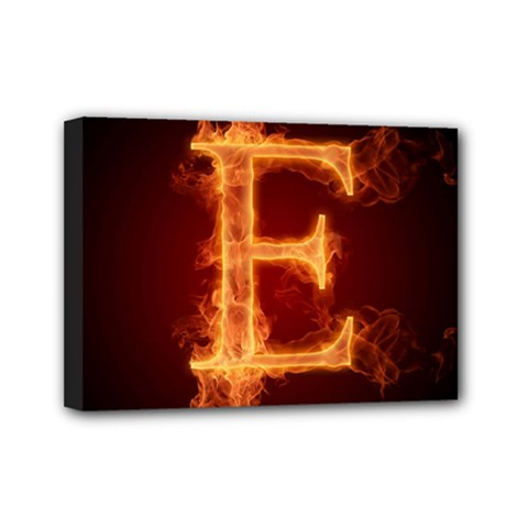 Fire Letterz E Mini Canvas 7  X 5