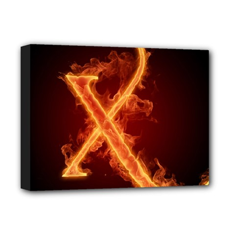 Fire Letterz X Deluxe Canvas 16  X 12