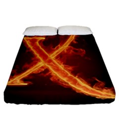 Fire Letterz X Fitted Sheet (queen Size) by Alisyart