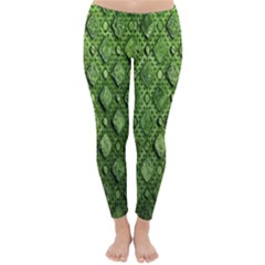 Circle Square Green Stone Classic Winter Leggings