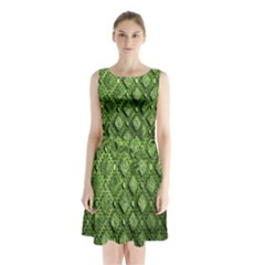Circle Square Green Stone Sleeveless Chiffon Waist Tie Dress
