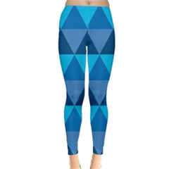 Geometric Chevron Blue Triangle Classic Winter Leggings