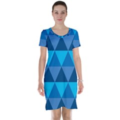 Geometric Chevron Blue Triangle Short Sleeve Nightdress
