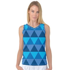 Geometric Chevron Blue Triangle Women s Basketball Tank Top