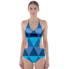 Geometric Chevron Blue Triangle Cut Out One Piece Swimsuit