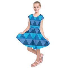 Geometric Chevron Blue Triangle Kids  Short Sleeve Dress