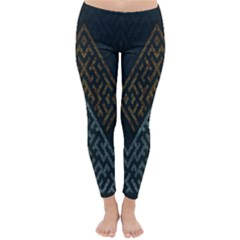Geometric Triangle Grey Gold Classic Winter Leggings