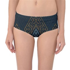 Geometric Triangle Grey Gold Mid Waist Bikini Bottoms