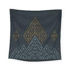 Geometric Triangle Grey Gold Square Tapestry (small) by Alisyart