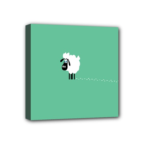 Goat Sheep Green White Animals Mini Canvas 4  X 4