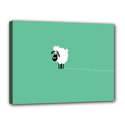 Goat Sheep Green White Animals Canvas 16  X 12