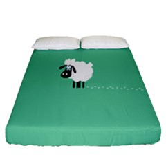 Goat Sheep Green White Animals Fitted Sheet (queen Size) by Alisyart