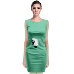 Goat Sheep Green White Animals Sleeveless Velvet Midi Dress
