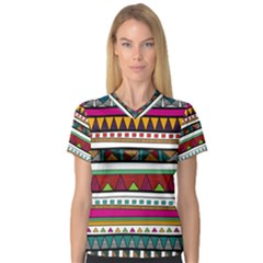 Woven Fabric Triangle Color Rainbow Chevron Wave Jpeg Women s V Neck Sport Mesh Tee by Alisyart