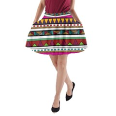 Woven Fabric Triangle Color Rainbow Chevron Wave Jpeg A Line Pocket Skirt