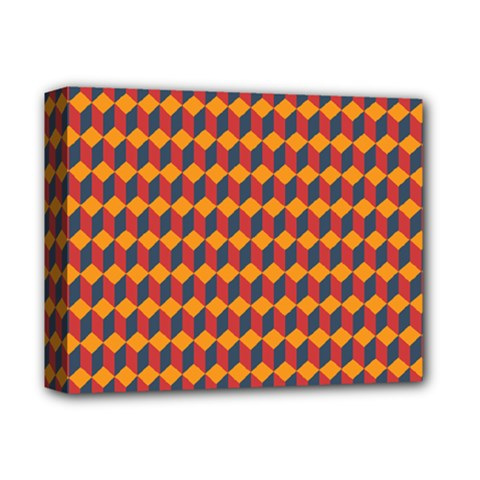 Geometric Plaid Red Orange Deluxe Canvas 14  X 11  by Alisyart