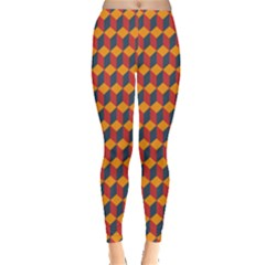 Geometric Plaid Red Orange Leggings