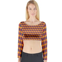 Geometric Plaid Red Orange Long Sleeve Crop Top