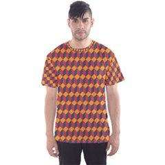 Geometric Plaid Red Orange Men s Sport Mesh Tee by Alisyart