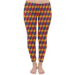 Geometric Plaid Red Orange Classic Winter Leggings