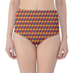 Geometric Plaid Red Orange High-waist Bikini Bottoms by Alisyart