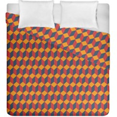 Geometric Plaid Red Orange Duvet Cover Double Side (king Size) by Alisyart