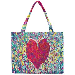 Geometric Heart Diamonds Love Valentine Triangle Color Mini Tote Bag by Alisyart