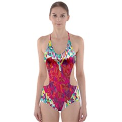Geometric Heart Diamonds Love Valentine Triangle Color Cut Out One Piece Swimsuit