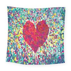Geometric Heart Diamonds Love Valentine Triangle Color Square Tapestry (large) by Alisyart