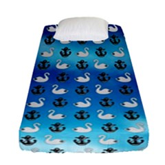 Goose Swan Anchor Blue Fitted Sheet (single Size)