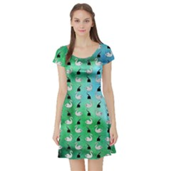 Goose Swan Hook Blue Green Short Sleeve Skater Dress