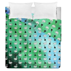 Goose Swan Hook Blue Green Duvet Cover Double Side (queen Size)