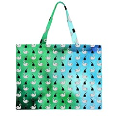 Goose Swan Hook Blue Green Zipper Large Tote Bag