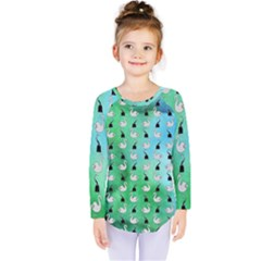 Goose Swan Hook Blue Green Kids  Long Sleeve Tee