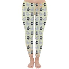 Goose Swan Anchor Gold Classic Winter Leggings