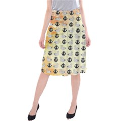 Goose Swan Anchor Gold Midi Beach Skirt