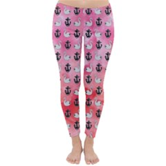 Goose Swan Anchor Pink Classic Winter Leggings