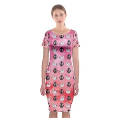 Goose Swan Anchor Pink Classic Short Sleeve Midi Dress