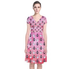 Goose Swan Anchor Pink Short Sleeve Front Wrap Dress